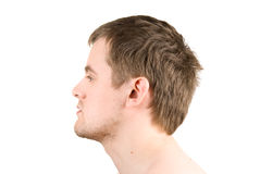 Man profile portrait. Isolated on white Stock Photos