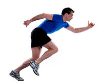 Man profile running sprinting full length Stock Photography