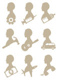 Man Profile Silhouette with Icon Symbols Royalty Free Stock Photos