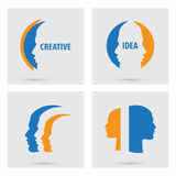 Man profile silhouette icons set isolated. Vector colorful portraits of people. Flat graphic style. Concept illustration Stock Photo