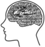 Man profile with visible brain. Confusion Royalty Free Stock Image