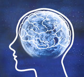 Man profile with visible brain. Full moon. Royalty Free Stock Image