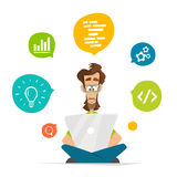Man programmer freelancer student character and laptop notebook Stock Photo