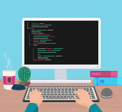 Man programmer hands working on his PC computer. Coding and programming. Head monitor view vector illustration. Stock Images