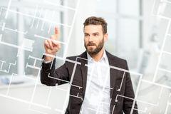 Man projecting on the virtual screen Stock Photo
