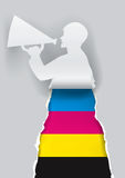 Man promoting color printing. Paper male silhouette advertises color printing with megaphone.  Concept for presenting of paper or color printing press. Vector Royalty Free Stock Images