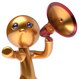 Man promotion speaking megaphone news character stylized. Man promotion speaking megaphone character stylized making sale advertisement announcement news golden Stock Image
