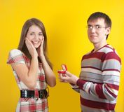 Man Propose Marriage To Beautiful Woman Royalty Free Stock Image