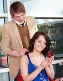 Man propose marriage to girl. Royalty Free Stock Image