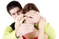 Man proposing engagement ring Stock Photos