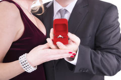 Man proposing engagement ring Royalty Free Stock Images