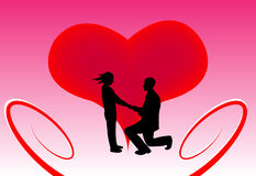 Man proposing in front of a heart. Royalty Free Stock Photo