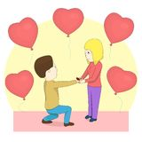 A man proposing to the girl standing on knee. stock illustration