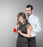 A man proposing to his girlfriend Stock Images