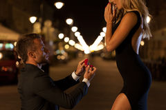 Man proposing to his love Stock Images