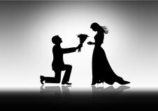 Man Proposing To Woman ,vector image. Royalty Free Stock Images