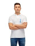 Man with prostate cancer awareness ribbon Royalty Free Stock Photos