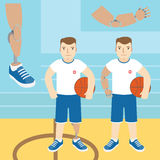Man with prosthetic arm, holding a basketball, and a man with a Stock Photography