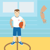 Man with prosthetic arm, holding a basketball.Vector illustratio Stock Photography