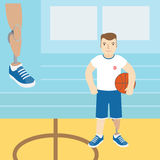 A man with a prosthetic leg, holding a basketball.Vector illustr Royalty Free Stock Photo