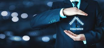 Man protect house insurance words. Real estate concept Royalty Free Stock Images