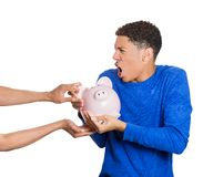 Man protecting his savings Stock Image