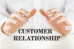 Man protecting the words - Customer Relationship Stock Photography