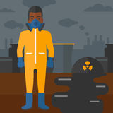 Man in protective chemical suit. Royalty Free Stock Images