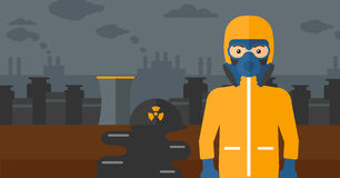 Man in protective chemical suit. Royalty Free Stock Image