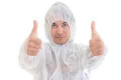 Man in protective clothes giving thumbs-up sign Royalty Free Stock Photo