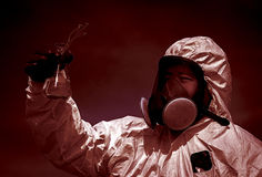 Man in protective clothing. And a mask control pollution Stock Photography