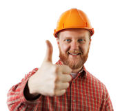 Man in a protective construction helmet Royalty Free Stock Photography