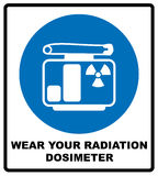 Man in protective gear. Wear your radiation dosimeter sign. Information mandatory symbol in blue circle isolated on white. Vector illustration vector illustration