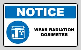 Man in protective gear. Wear your radiation dosimeter sign. Information mandatory symbol in blue circle isolated on white. Vector illustration. Notice label royalty free illustration