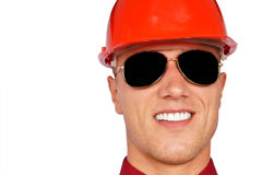 Man in a protective helmet Royalty Free Stock Photos