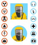 Industry concept. Differences people characters avatars icons. Worker in protective suit. Safety  icon. Set of signs: chemic. Man in protective suit in flat Royalty Free Stock Images