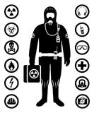 Industry concept. Black silhouette of worker in protective suit. Safety and health vector icons. Set of signs: chemical. Man in protective suit in flat style Stock Image