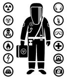 Industry concept. Black silhouette of worker in protective suit. Safety and health vector icons. Set of signs: chemical. Man in protective suit in flat style Royalty Free Stock Photos
