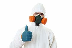 Man in protective suit Thumbs up Royalty Free Stock Image