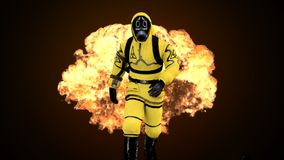 A man in a protective suit walks against the background of smoke and explosions. 3D rendering. A man in a protective suit walks against the background of smoke Stock Photo