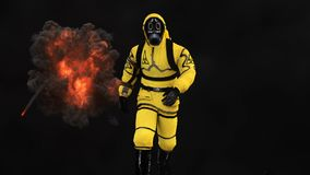A man in a protective suit walks against the background of smoke and explosions. 3D rendering. A man in a protective suit walks against the background of smoke Royalty Free Stock Images