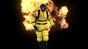 A man in a protective suit walks against the background of smoke and explosions. 3D rendering. A man in a protective suit walks against the background of smoke Royalty Free Stock Photos