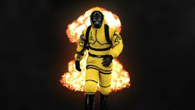 A man in a protective suit walks against the background of smoke and explosions. 3D rendering. A man in a protective suit walks against the background of smoke Stock Photography