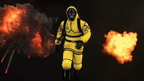 A man in a protective suit walks against the background of smoke and explosions. 3D rendering. A man in a protective suit walks against the background of smoke Stock Image