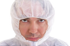Man in protective uniform close up, isolated Stock Photo
