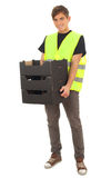 Man in protective waistcoat with black boxes Royalty Free Stock Photos