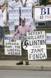 Man protesting US Senator Hillary Clinton Royalty Free Stock Photography