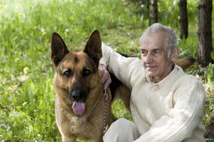Man proud of his dog Stock Photos