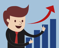 Man proudly present growing business statistics Royalty Free Stock Image