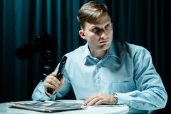 Man with psychosis of killing Stock Image